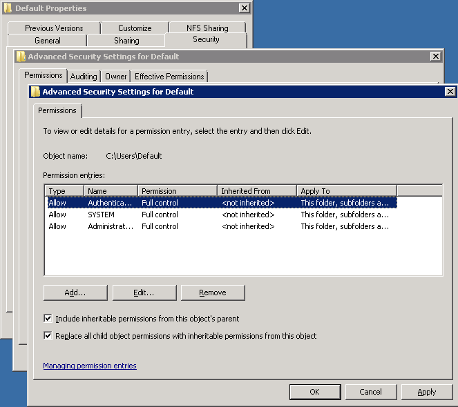 the user profile service failed the logon. user profile cannot be loaded windows server 2012